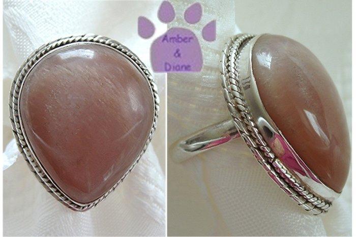 Cat's Eye Sterling Silver Ring Teardrop beaded frame size 7.5