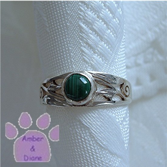 Malachite Sterling Silver Ring with filigree design size 6