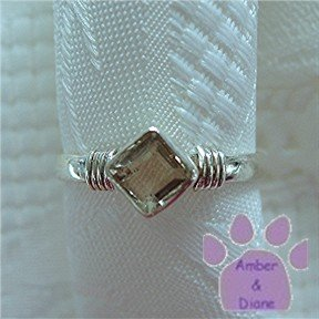 White Topaz Sterling Silver Ring Square Topaz simple band size 8