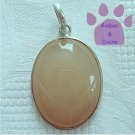 Agate Sterling Silver Pendant Khaki-Colored Oval charm