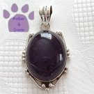 Amethyst Large Oval Sterling Silver Pendant in a beaded frame charm
