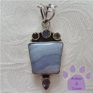 Banded Blue Agate Trapezoid Sterling Silver Multigem Pendant