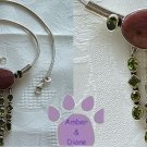 Rhodonite and Peridot Necklace Sterling Silver 17 inch Snake Chain