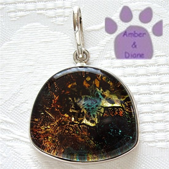 Dichroic Glass Sterling Silver Pendant gold, yellow, blue