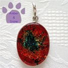 Dichroic Glass Sterling Silver Pendant oval red, orange, green