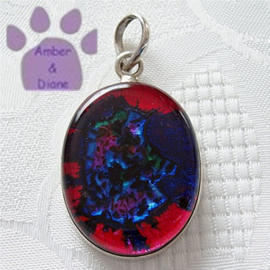 Dichroic Glass Sterling Silver Pendant pink, purple, blue