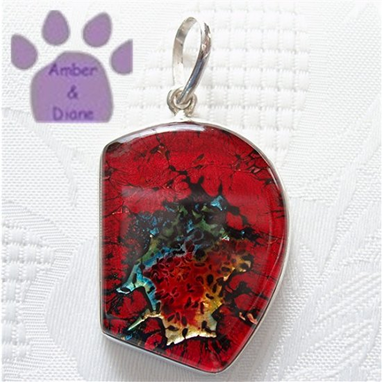 Dichroic Glass Sterling Silver Pendant red, blue, yellow
