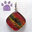 Dichroic Glass Sterling Silver Pendant square red, yellow, green