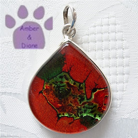Dichroic Glass Sterling Silver Pendant teardrop orange and green