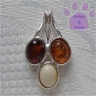 Baltic Amber Sterling Silver Pendant cognac honey butterscotch droplets