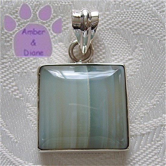 Banded Blue Chalcedony Sterling Silver Pendant square