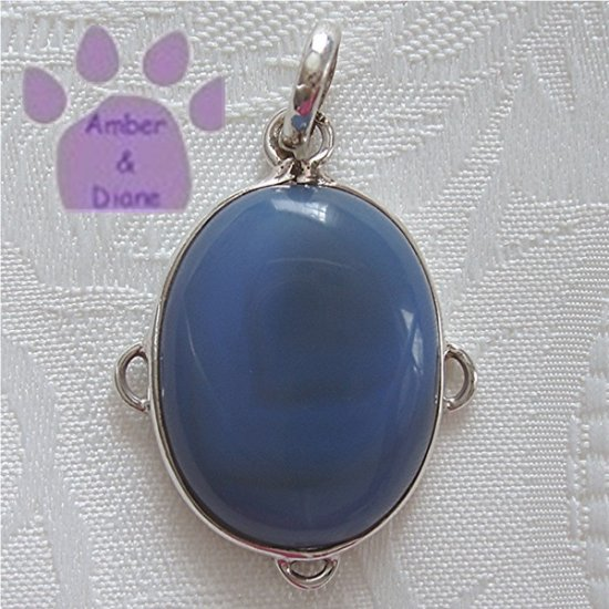 Blue Agate Sterling Silver Oval Pendant in a simple frame