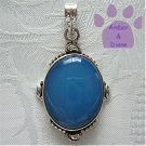 Blue Chalcedony Sterling Silver Pendant oval