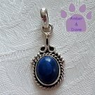 Blue Lapis Oval Sterling Silver Pendant with a beaded frame