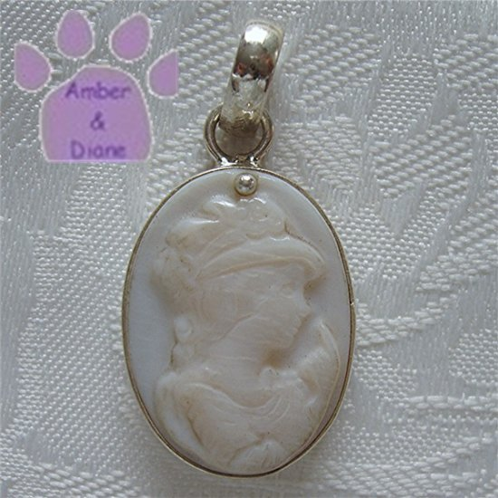 CARVED Mother of Pearl CAMEO Sterling Silver Pendant