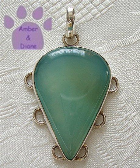 Chalcedony Sterling Silver Pendant teardrop light blue