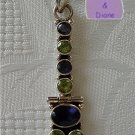 Gemstone Sterling Silver Pendant Iolite and Peridot