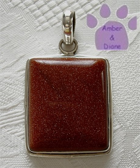 Goldstone Sterling Silver Pendant rectangle sparkling gold