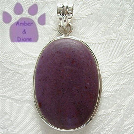 Jasper Oval Sterling Silver Pendant deep lavender