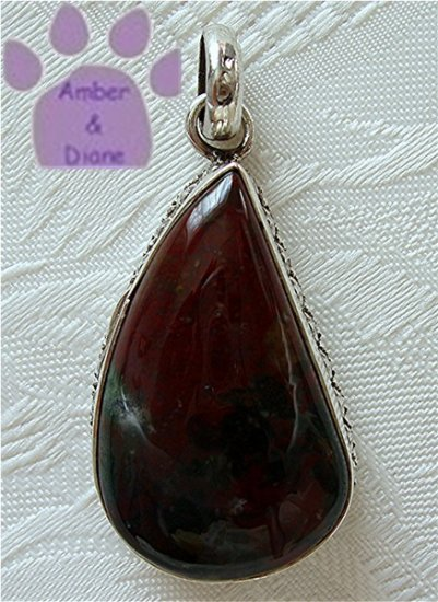 Jasper Sterling Silver Pendant teardrop burgundy and grey-green