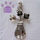 Peridot Flowers in a Sterling Silver Decorative Vase Pendant