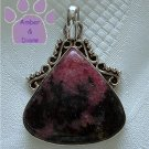 Rhodonite Sterling Silver Pendant teardrop coral pink & black