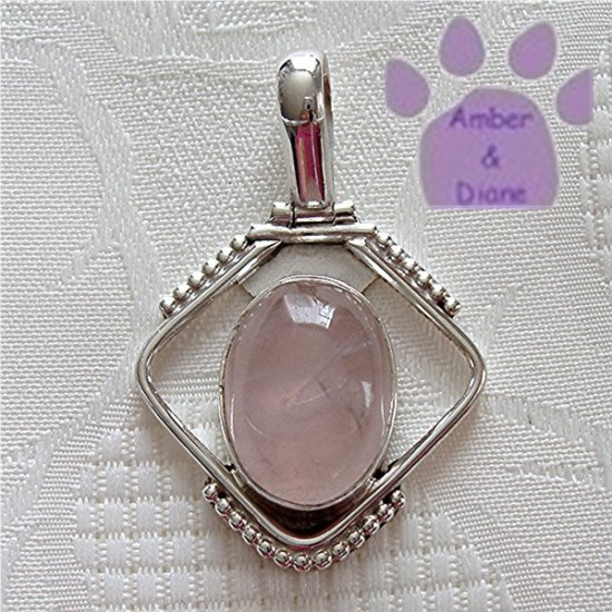 Rose Quartz Sterling Silver Pendant Oval Gemstone in beaded silver frame