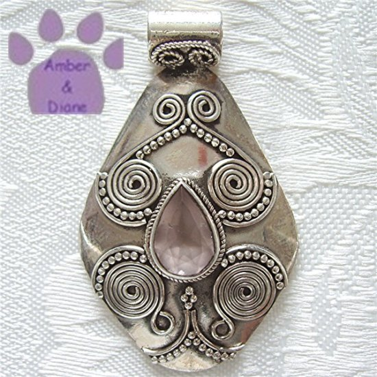 Rose Quartz Sterling Silver Pendant with coil and bead design