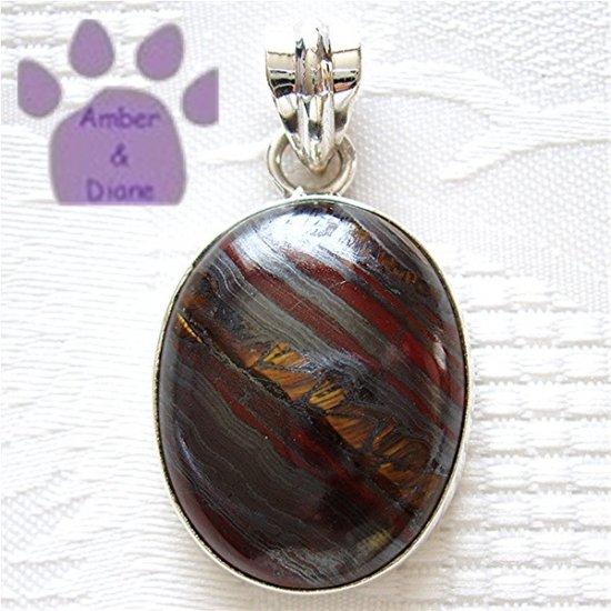 Tiger Iron Jasper Oval Sterling Silver Pendant metallic gray, red & gold