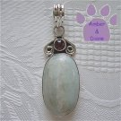 Aquamarine Oval Sterling Silver Pendant pale mint with tourmaline