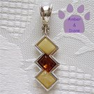 Baltic Amber Sterling Silver Pendant butterscotch and honey rectangles