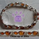 Baltic Amber Sterling Silver Bracelet Honey double oval links TR1300