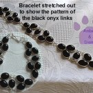 Black Onyx Sterling Silver Bracelet oval links intricate design