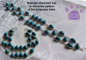 Turquoise Sterling Silver Bracelet oval links intricate design TR1317