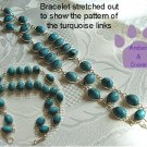 Turquoise Sterling Silver Bracelet oval links intricate design TR1316