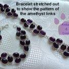 Violet Amethyst Ovals Sterling Silver Bracelet delicate design