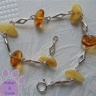 Amber Silver Bracelet butterscotch and honey polished stones