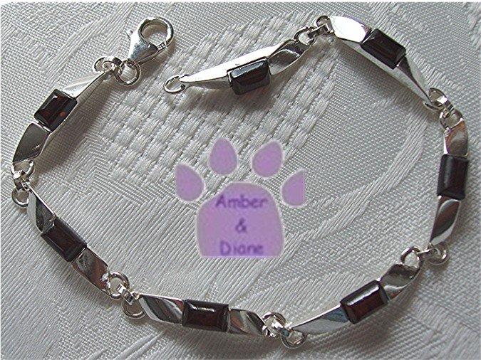Amber Sterling Silver Bracelet Cognac rectangular silver links