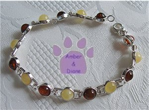 Amber Sterling Silver Bracelet Honey and Butterscotch round links