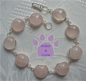 Rose Quartz Sterling Silver Bracelet round links 7.5 inches