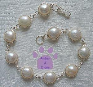 "White River Pearl Sterling Silver Bracelet round links 7.5"""