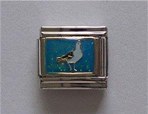 Sea Gull or Pigeon Italian Charm on a Blue Glitter background