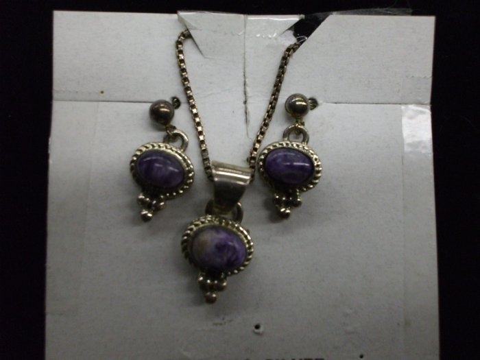 American Made Charoite Earring / Pendant Set w/Necklace