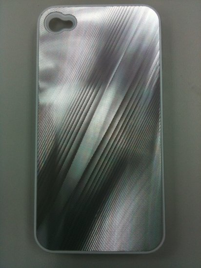 SILVER NEW SHINE HARD CASE COVER FOR IPHONE 4G