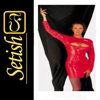 Red Sexy  catsuit Latex Rubber Dress  #skn039