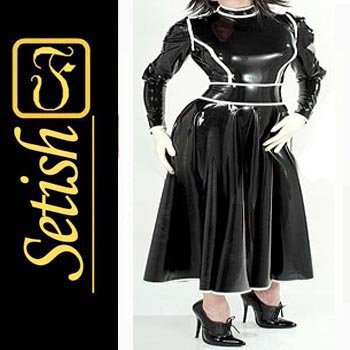 Black  Rubber Skirt  Sexy Latex Dress SYS021
