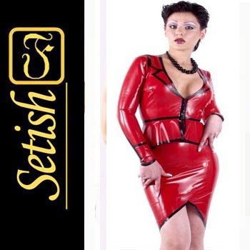 Red Sexy Skirt  catsuit Latex dress   #sys047
