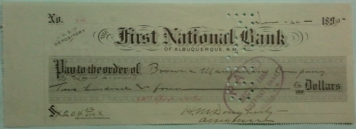 New Mexico territorial check dated December 26, 1895