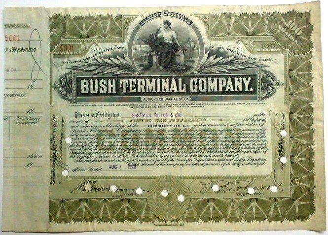 Bush Terminal Company Stock Certificate - 08/01/1928