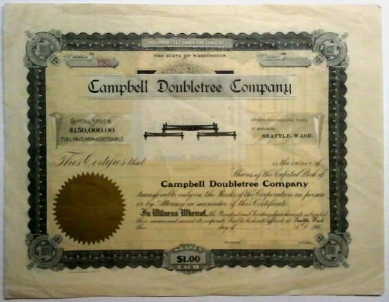 Campbell Doubletree Co. unissued Stock Certificate-190?
